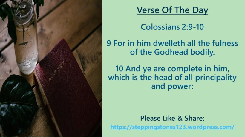 Verse Of The Day Template for My Blog collossians 2 and 9 10