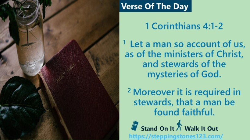 Verse Of The Day 1 Corinthians 4 and 1 thru 2